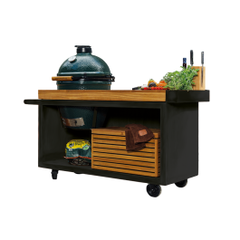 OFYR Kamado Table Black 135 PRO Bois de Teck BGE