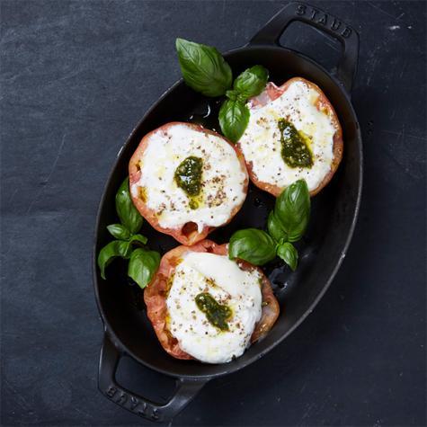 Gebakken tomaat en mozzarella
